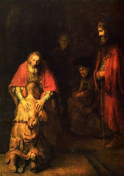 Rembrandt Harmensz van Rijn: Return of the Prodigal Son. Religious Fine Art Print/Poster. Sizes: A4/A3/A2/A1 (00230)
